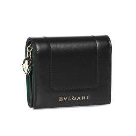 ブルガリ BVLGARI 財布 レディース 288032 三つ折り財布 SERPENTI FOREVER セルペンティ フォーエバー BLACK/LIGHT GOLD ブラック