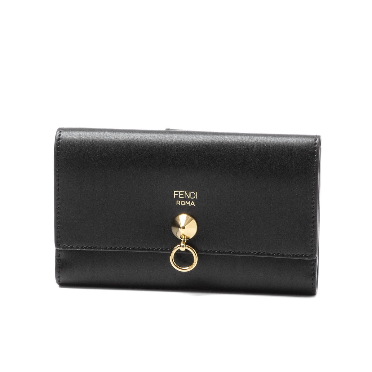 フェンディ FENDI 財布 レディース 8M0383 SME F0KUR 二つ折り財布 ミディアム NERO+ORO SOFT ブラック
