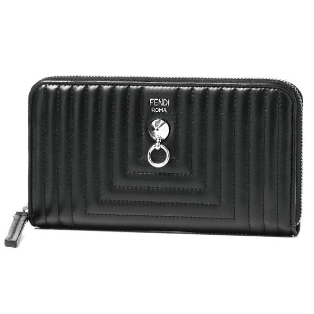 フェンディ FENDI 財布 レディース 8M0299 I8F F0GXN ラウンドファスナー長財布 NERO+PALLADIO ブラック