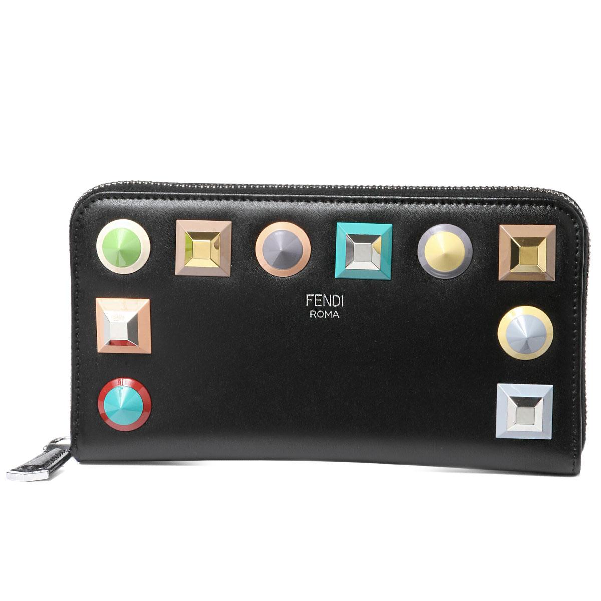 フェンディ FENDI 財布 レディース 8M0299 SR0 F0JBX ラウンドファスナー長財布 NERO+MLC+PALLADIO ブラック