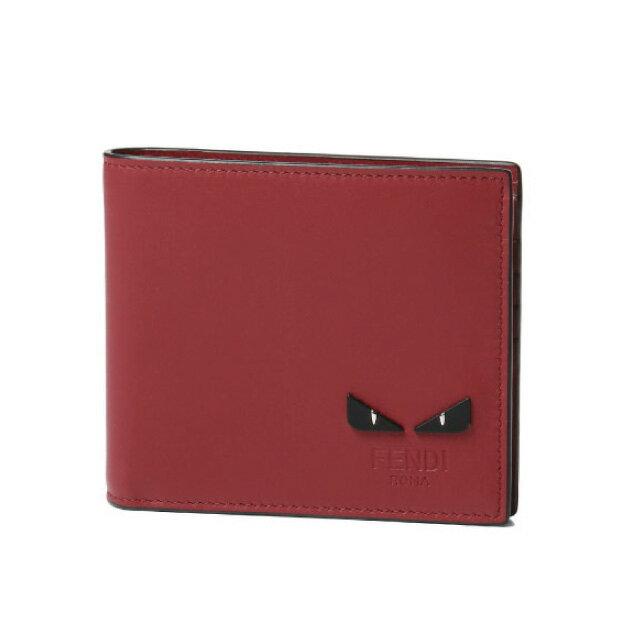 フェンディ FENDI 財布 メンズ 7M0169 6OC F0KMG 二つ折り財布 FRAGOLA+PALLADIO レッド