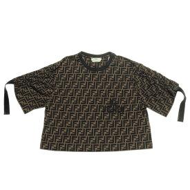 フェンディ FENDI Tシャツ レディース FS7136 A7W5 F1702 半袖Tシャツ BLOCK+BLACK ブラウン
