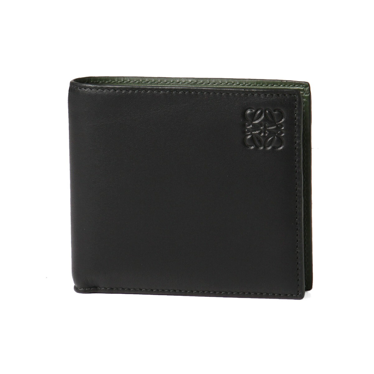ロエベ LOEWE 財布 メンズ 109 80 501 1100 1217 二つ折り財布 BLACK/KHAKI GREEN ブラック