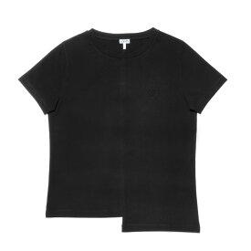 ロエベ LOEWE Tシャツ レディース D2199841CR 1100 半袖Tシャツ ASYMMETRIC アシメトリック BLACK ブラック