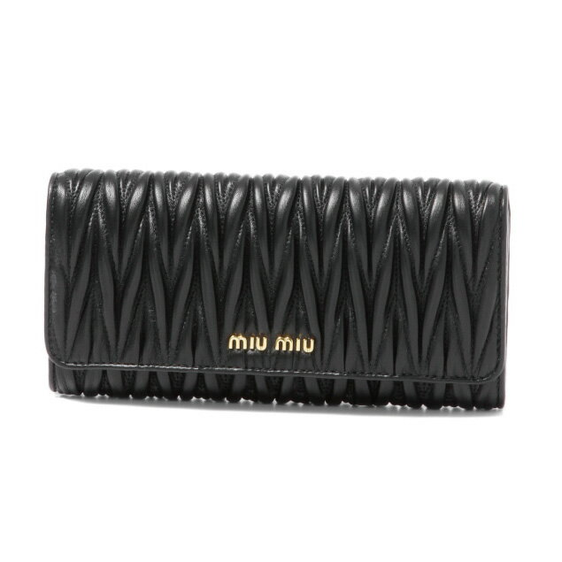 ミュウ ミュウ MIU MIU 財布 レディース 5MH109 N88 F0002 二つ折り長財布 MATELASSE NERO ブラック