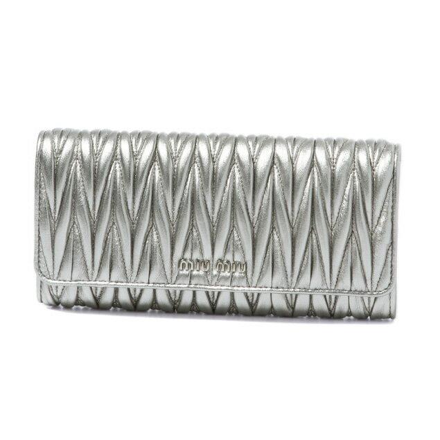 ミュウ ミュウ MIU MIU 財布 レディース 5MH109 N88 F0135 二つ折り長財布 MATELASSE CROMO シルバー