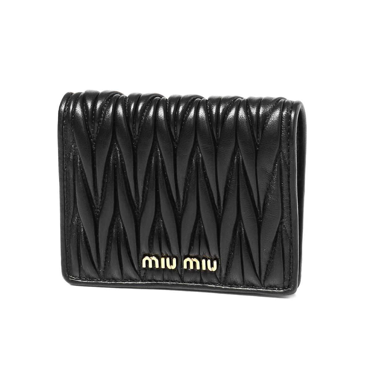 ミュウ ミュウ MIU MIU 財布 レディース 5MV204 N88 F0002 二つ折り財布 MATELASSE NERO ブラック