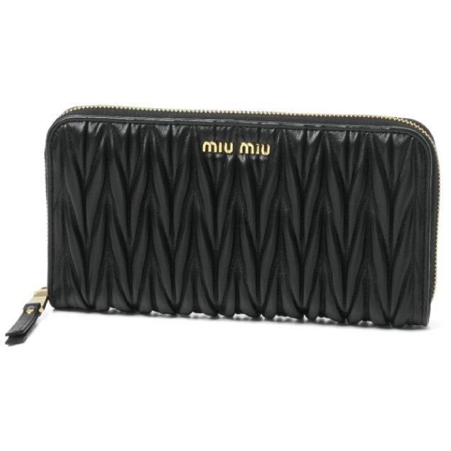 ミュウ ミュウ MIU MIU 財布 レディース 5ML506 N88 F0002 ラウンドファスナー長財布 MATELASSE NERO ブラック
