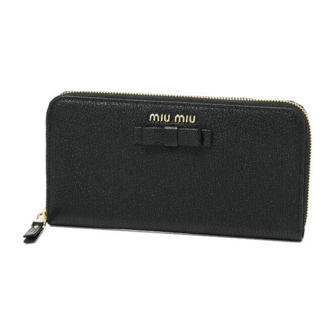 ミュウ ミュウ MIU MIU 財布 レディース 5ML506 3R7 F0002 ラウンドファスナー長財布 MADRAS FIOCCO NERO ブラック