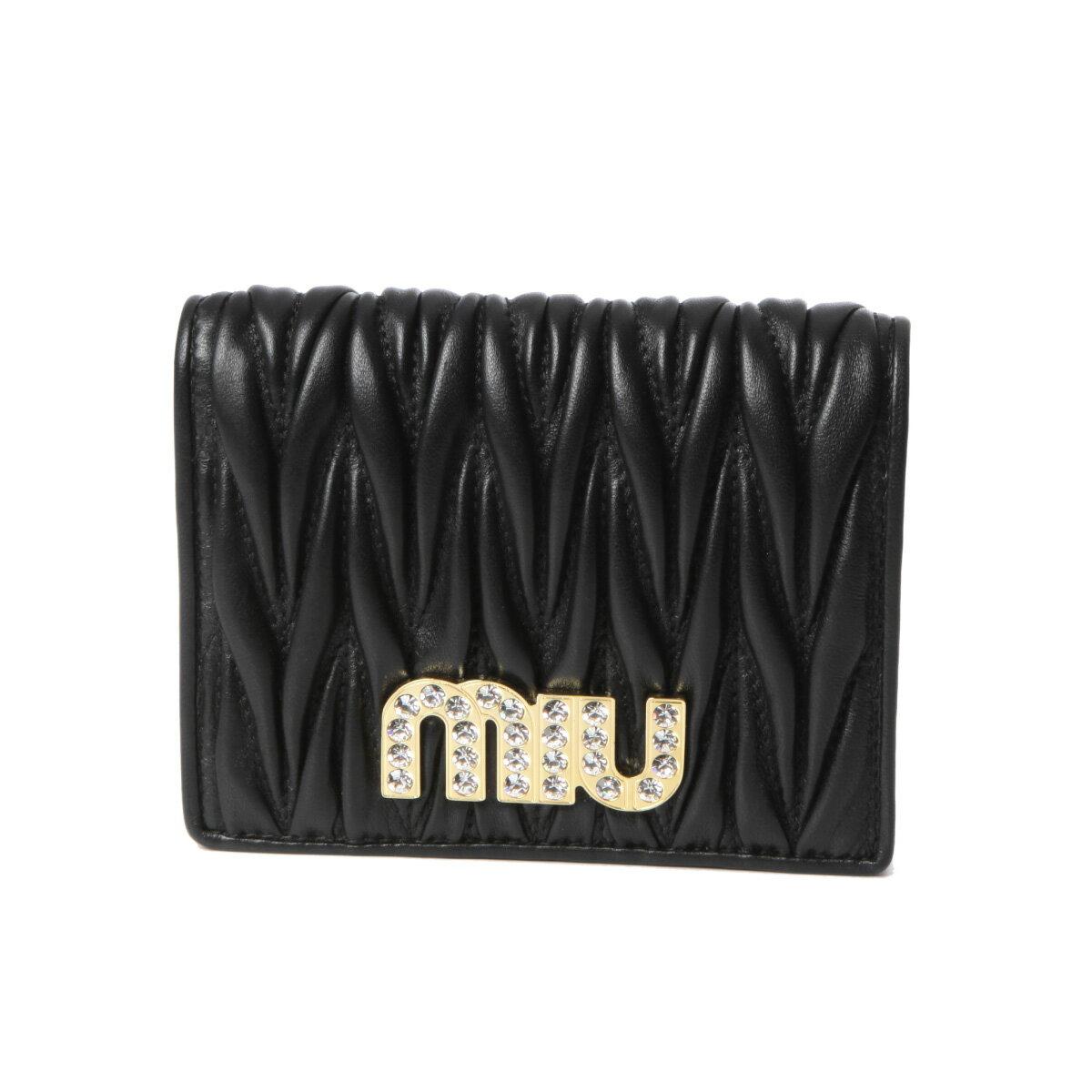ミュウ ミュウ MIU MIU 財布 レディース 5MV204 2BSQ F0002 二つ折り財布 MATELASSE MIU C NERO ブラック