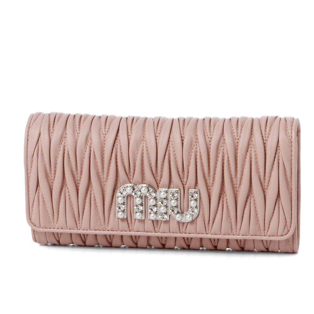 ミュウ ミュウ MIU MIU 財布 レディース 5MH109 2BSQ F0615 二つ折り長財布 MATELASSE MIU C ORCHIDEA ピンク