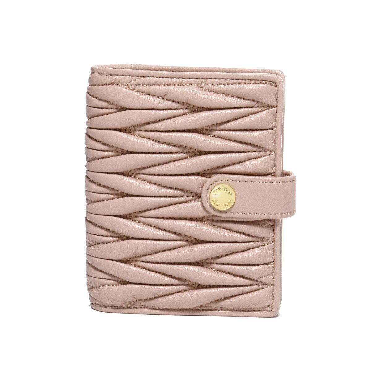 ミュウ ミュウ MIU MIU 財布 レディース 5MV016 N88 F0615 二つ折り財布 MATELASSE ORCHIDEA ピンク