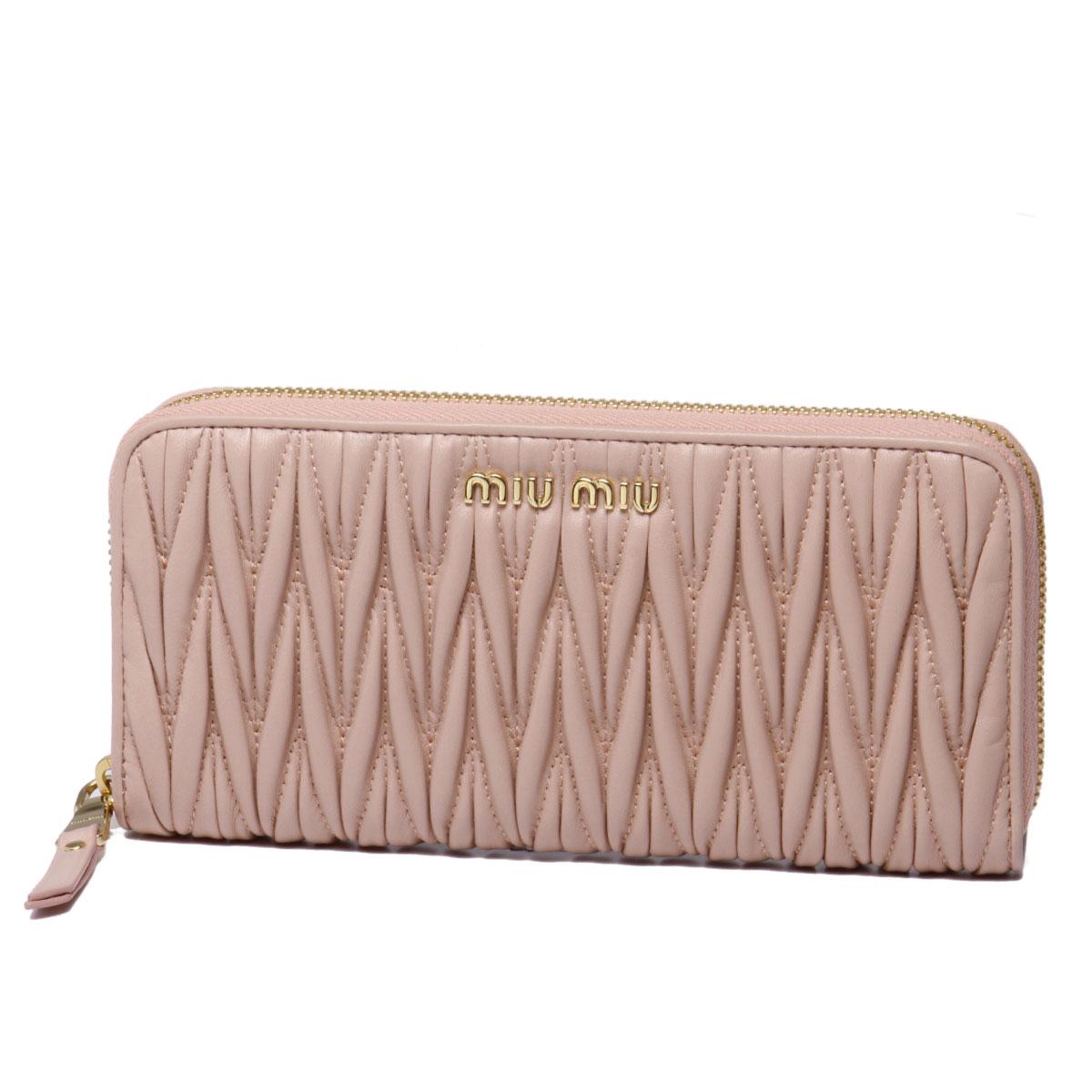 ミュウ ミュウ MIU MIU 財布 レディース 5ML506 N88 F0615 ラウンドファスナー長財布 MATELASSE ORCHIDEA ピンク