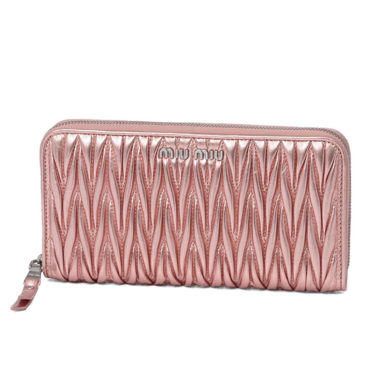 ミュウ ミュウ MIU MIU 財布 レディース 5ML506 N88 F0XDS ラウンドファスナー長財布 MATELASSE ROSA MORDORE ピンク