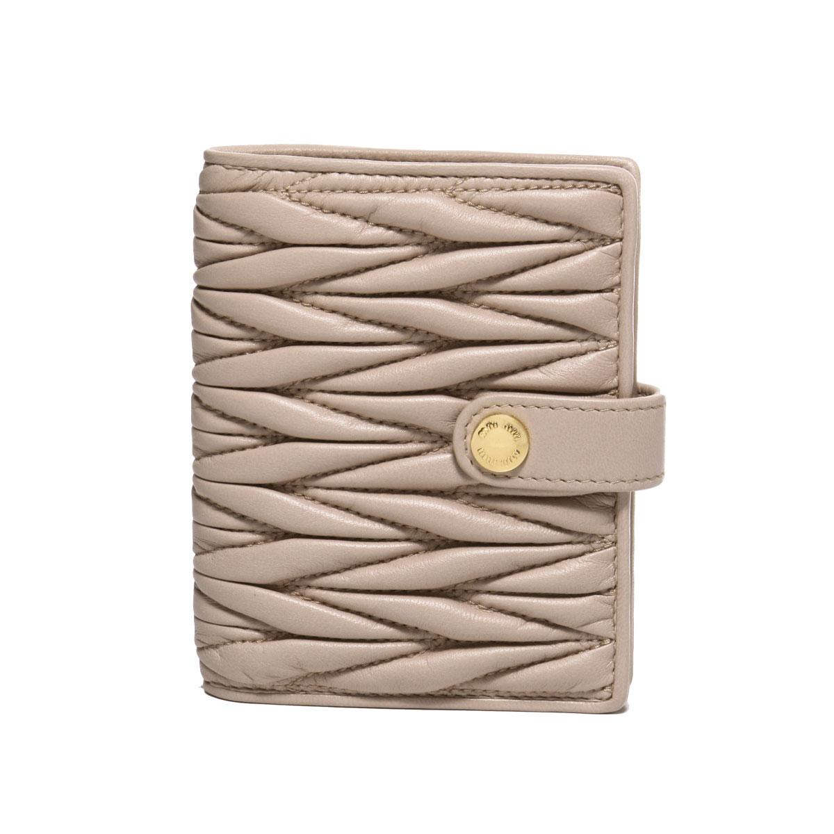 ミュウ ミュウ MIU MIU 財布 レディース 5MV016 N88 F0770 二つ折り財布 MATELASSE CAMMEO ベージュ