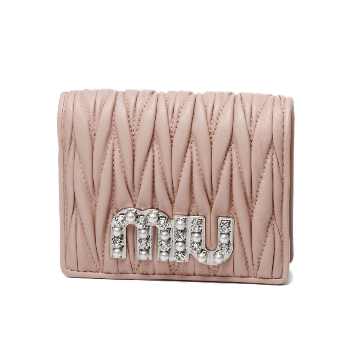 ミュウ ミュウ MIU MIU 財布 レディース 5MV204 2BSQ F0615 二つ折り財布 MATELASSE MIU C ORCHIDEA ピンク