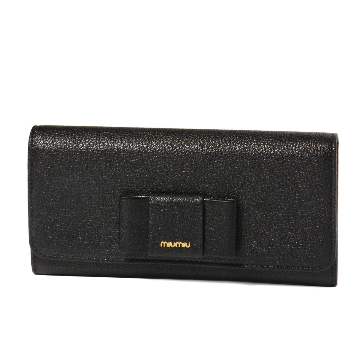ミュウ ミュウ MIU MIU 財布 レディース 5MH109 2EW7 F0002 二つ折り長財布 MADRAS FIOCCO C NERO ブラック
