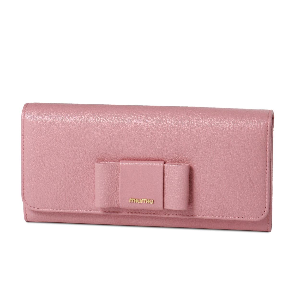 ミュウ ミュウ MIU MIU 財布 レディース 5MH109 2EW7 F0028 二つ折り長財布 MADRAS FIOCCO C ROSA ピンク