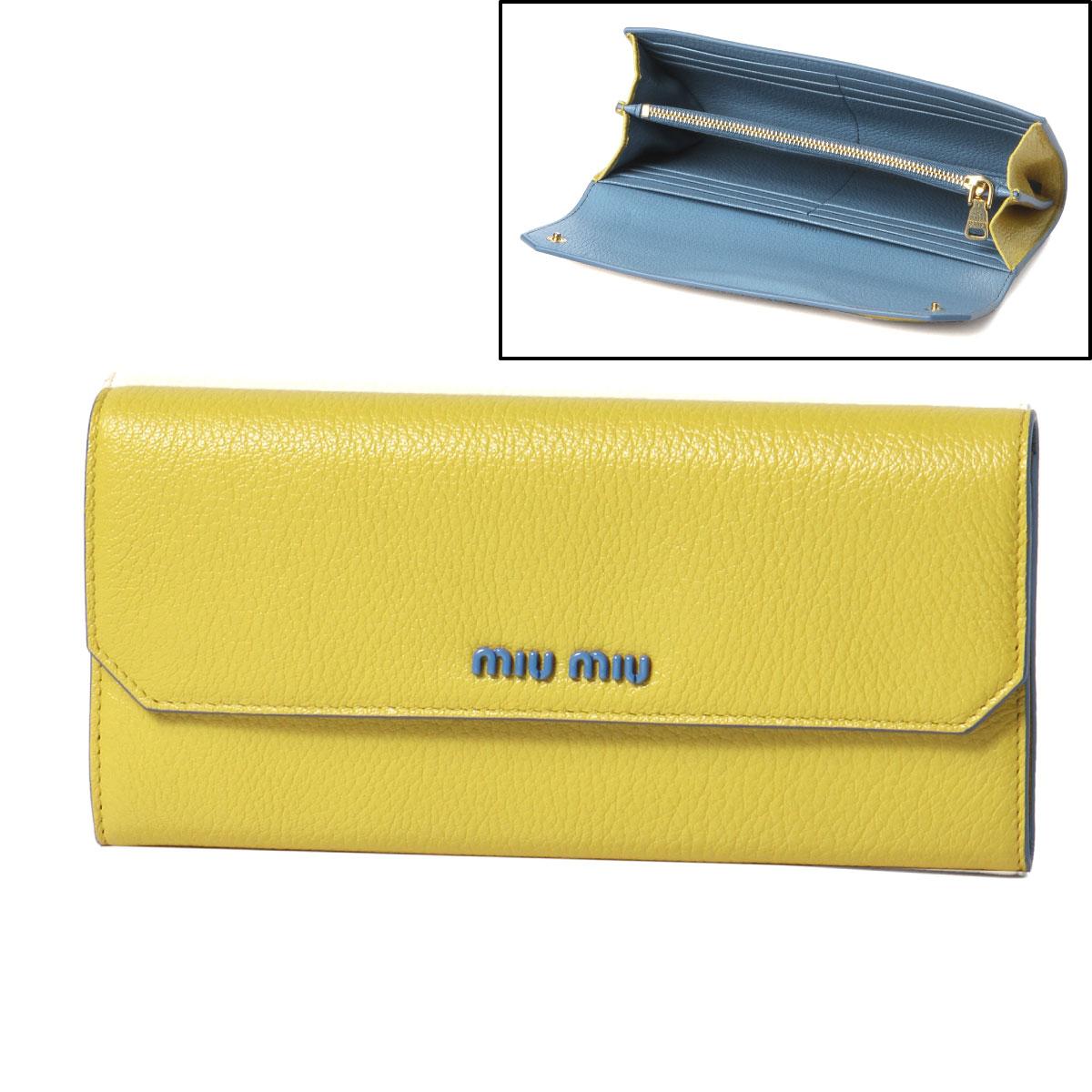 ミュウ ミュウ MIU MIU 財布 レディース 5MH379 CB6 F0377 二つ折り長財布 MADRAS COLOUR SOLE イエロー