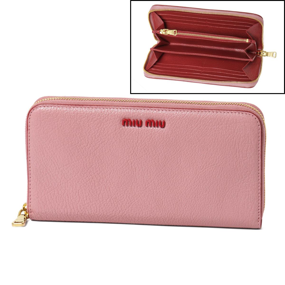 ミュウ ミュウ MIU MIU 財布 レディース 5ML506 CB6 F0028 ラウンドファスナー長財布 MADRAS COLOUR ROSA ピンク