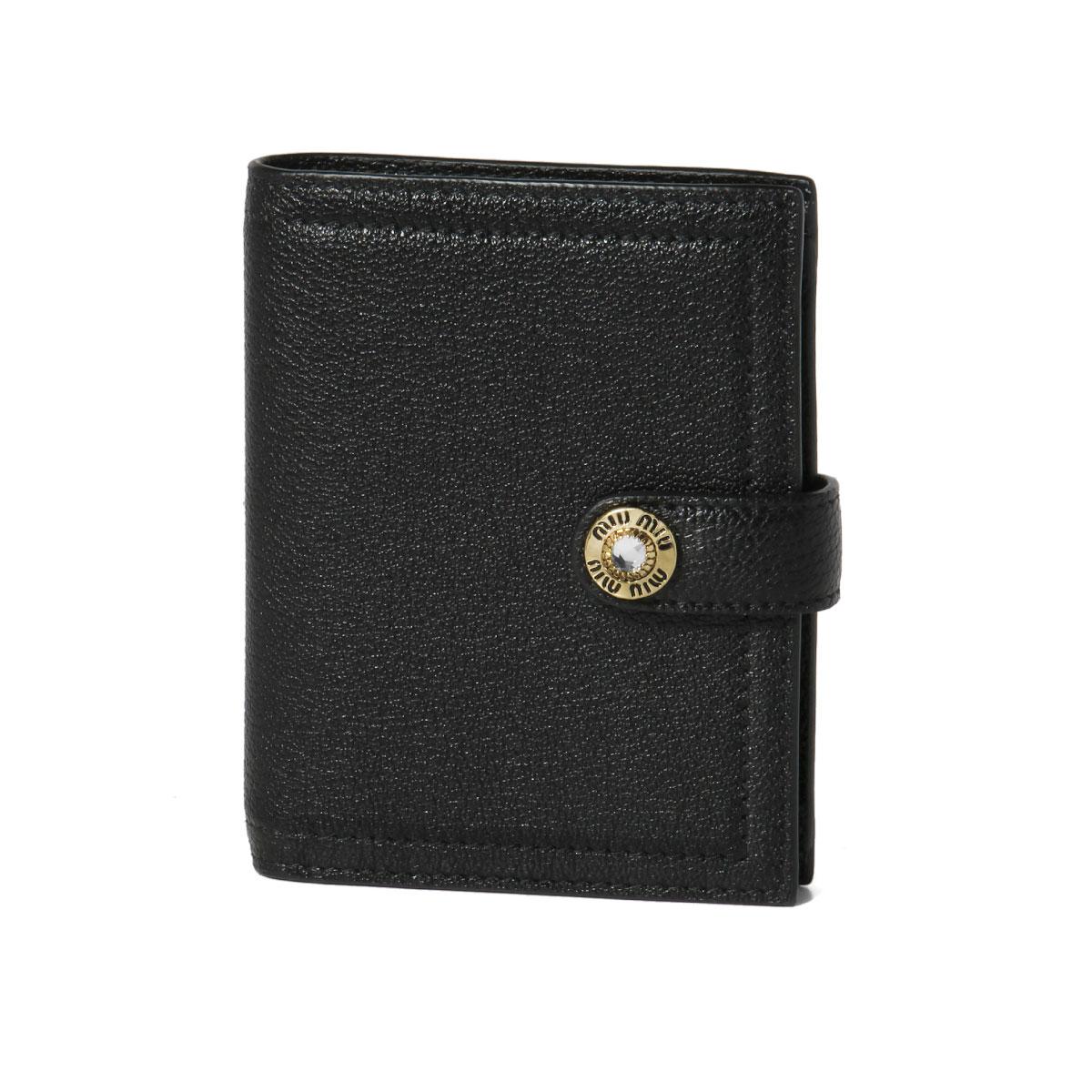 ミュウ ミュウ MIU MIU 財布 レディース 5MV016 2BWA F0002 二つ折り財布 MADRAS JEWELS NERO ブラック