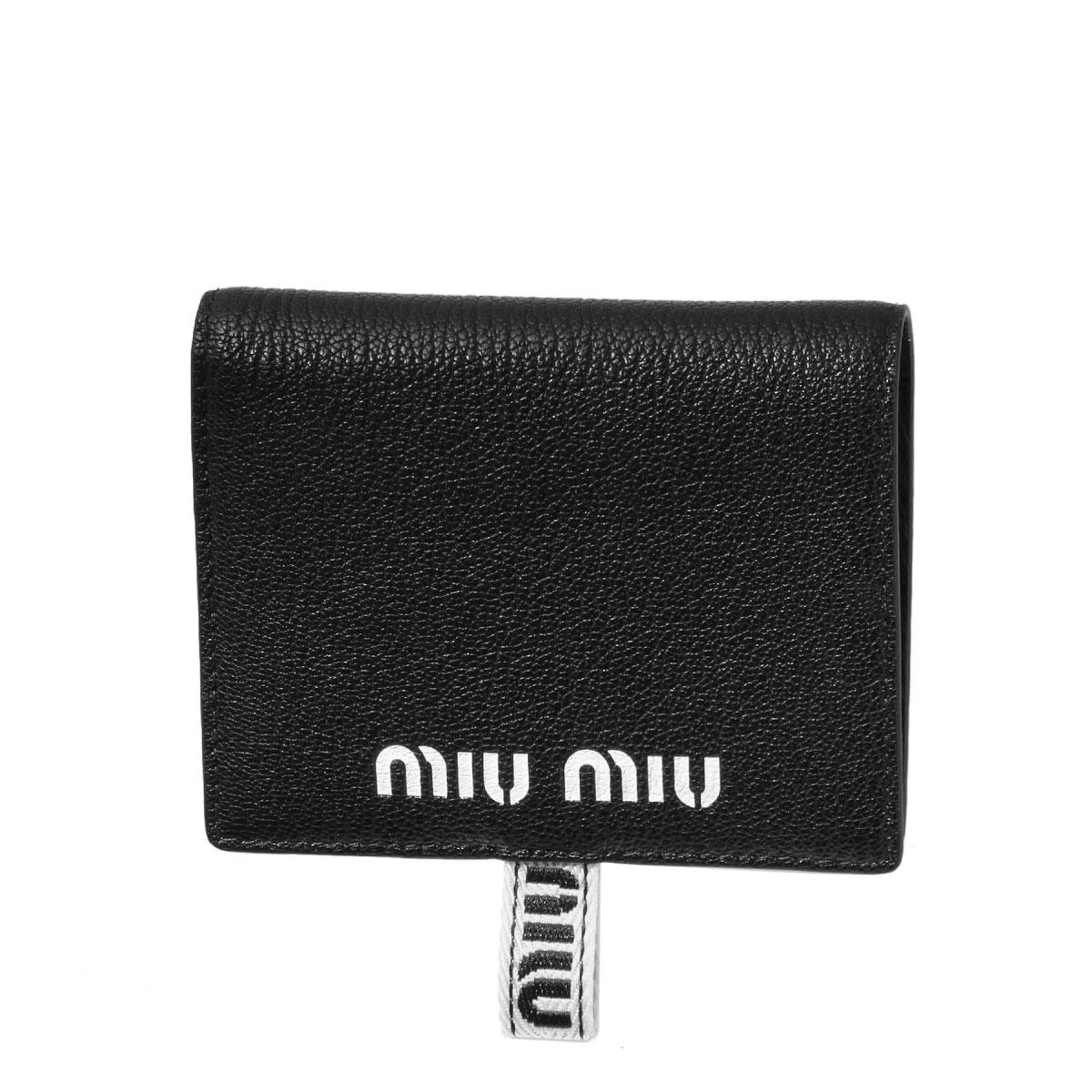 ミュウ ミュウ MIU MIU 財布 レディース 5MV204 2B64 F0002 二つ折り財布 MADRAS SPORT NERO ブラック