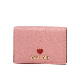 ミュウ ミュウ MIU MIU カードケース レディース 5MC945 2BC3 F0028 MADRAS LOVE ROSA ピンク