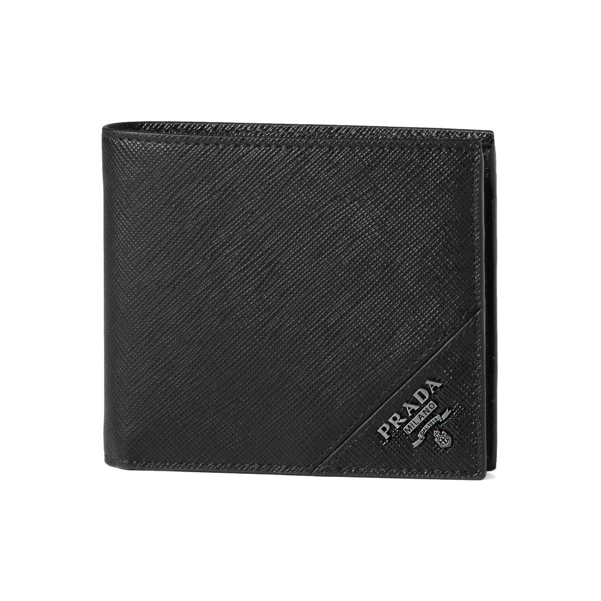 プラダ PRADA 財布 メンズ 2MO738 QME F0002 二つ折り財布 SAFFIANO METAL NERO ブラック