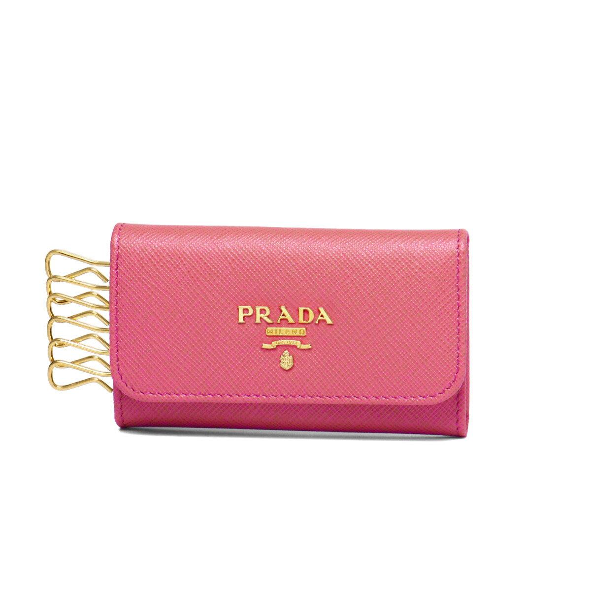 プラダ PRADA キーケース レディース 1PG222 QWA F0505 SAFFIANO METAL PEONIA ピンク