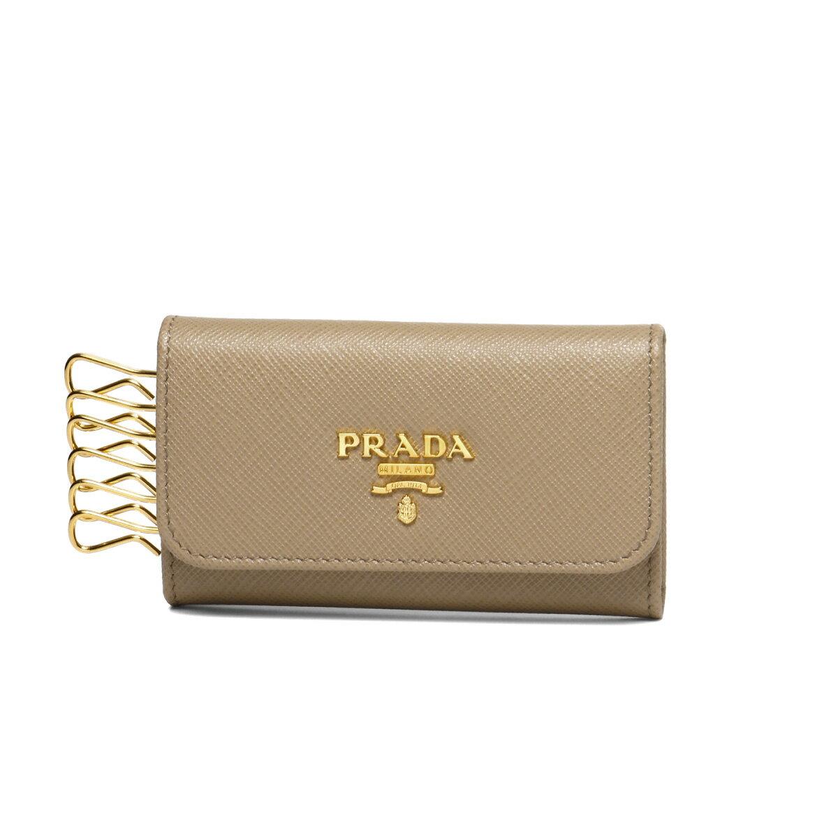 プラダ PRADA キーケース レディース 1PG222 QWA F0770 SAFFIANO METAL CAMMEO ベージュ