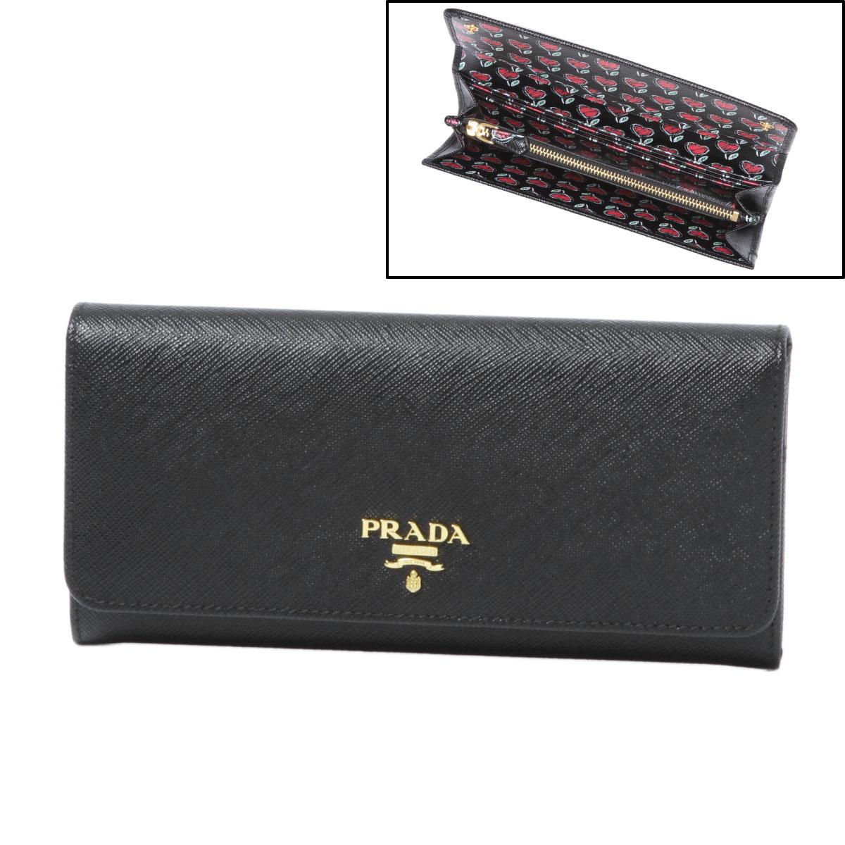 プラダ PRADA 財布 レディース 1MH132 2BFM F0002 二つ折り長財布 SAFFIANO+ST.LOV NERO ブラック