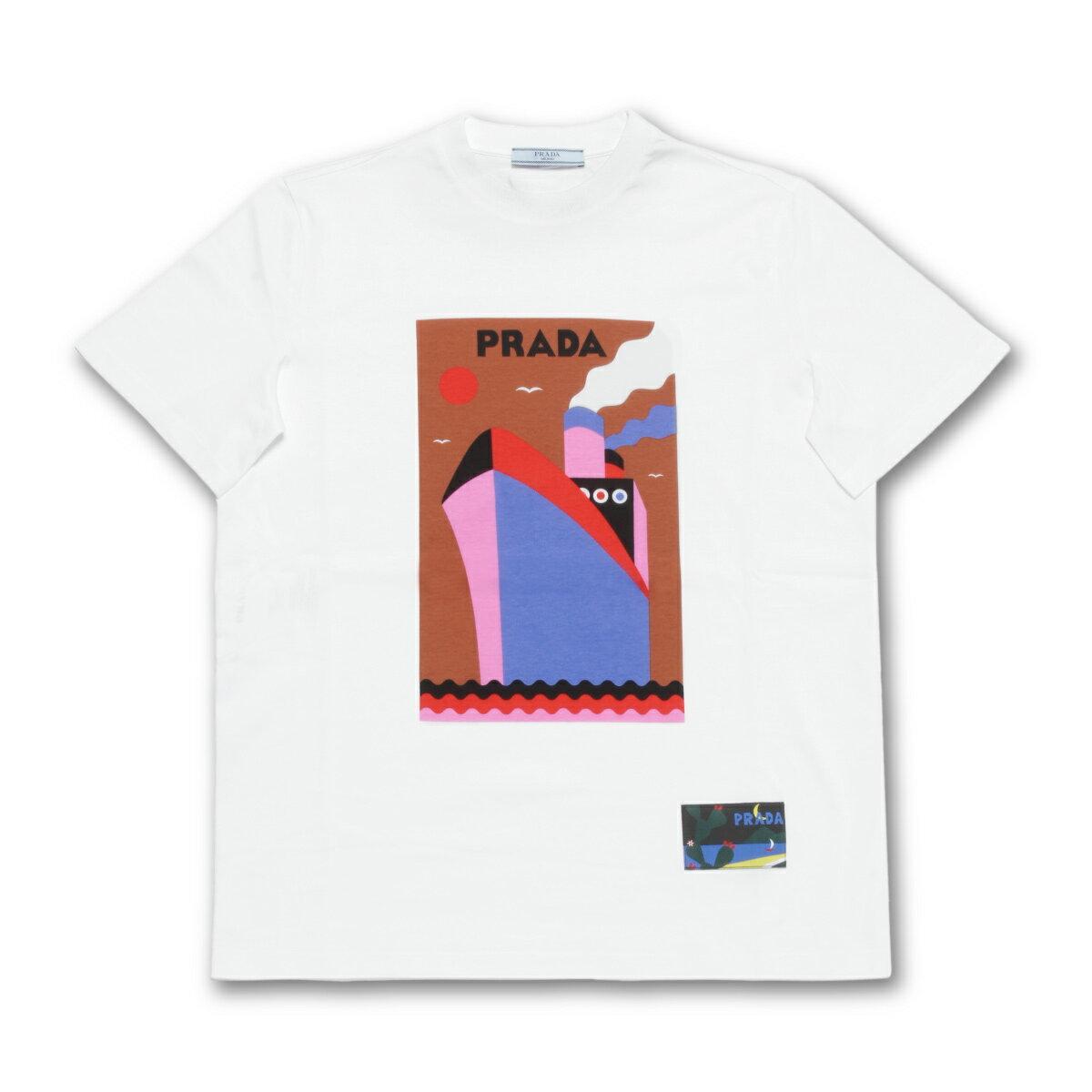 プラダ PRADA Tシャツ レディース 135664 1QGA F0O7V 半袖Tシャツ BIANCO+TABACCO ホワイト