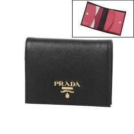 プラダ PRADA 財布 レディース 1MV204 ZLP F061H 二つ折り財布 SAFFIANO MULTIC NERO+IBISCO ブラック