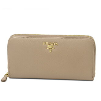 Prada PRADA wallet Lady's 1ML506 QWA F0236 round fastener long wallet SAFFIANO METAL CIPRIA beige