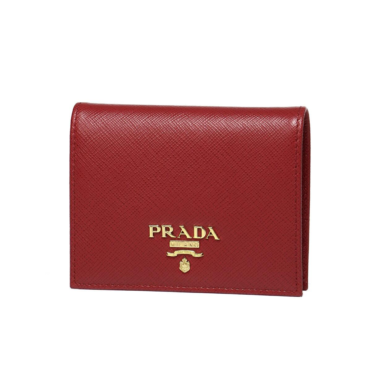 プラダ PRADA 財布 レディース 1MV204 QWA F068Z 二つ折り財布 SAFFIANO METAL FUOCO レッド
