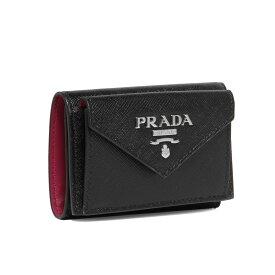 プラダ PRADA 財布 レディース 1MH021 2E6V F0YAR 三つ折り財布 SAFFIANO COLOUR NERO/IBISCO ブラック