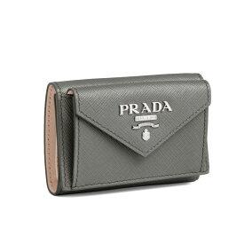 プラダ PRADA 財布 レディース 1MH021 2E6V F0YAT 三つ折り財布 SAFFIANO COLOUR MARMO/PESCA グレー