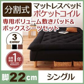 分割式マットレスベッド 専用敷きパッドセット ポケットコイルマットレスタイプ シングルベッド ※敷きパッド付属品 脚22cmシングルベッド シングルベット シングル 脚付きマットレス 脚付き 寝床