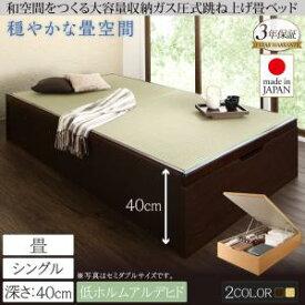 お客様組立 くつろぎの和空間をつくる日本製大容量収納ガス圧式跳ね上げ畳ベッド 涼香 リョウカ 中国産畳 シングル 深さラージシングルベッド シングルサイズ 収納ベッド 収納家具 和モダン 和風スタイル 日本風