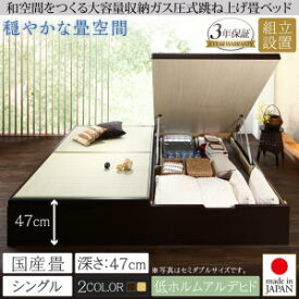 組立設置付 くつろぎの和空間をつくる日本製大容量収納ガス圧式跳ね上げ畳ベッド 涼香 リョウカ 国産畳 シングル 深さグランドシングルベッド シングルサイズ 収納ベッド 収納家具 和モダン 和風スタイル 日本風