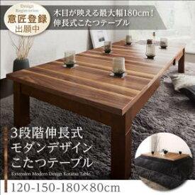 3段階伸長式モダンデザインこたつテーブル Abroader アブローダー 長方形(80×120〜180cm)こたつテーブル こたつテーブル単品 こたつ