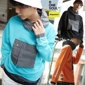 【送料無料】 Sequence B ONE SOUL パーカー メンズ レディース スウェット ポケット 長袖 プリント ゆったり 大きいサイズ ドロップショルダー ビッグロゴ オレンジ ブルー 黒 ブランド ストリート系 ストリートファッション