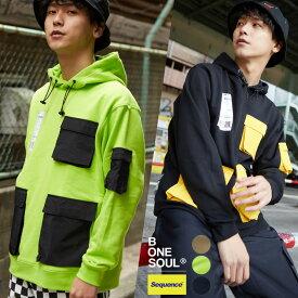 Sequence B ONE SOUL パーカー メンズ レディース スウェット クレイジー ポケット 長袖 プリント ゆったり 大きいサイズ ドロップショルダー バックプリント グリーン ライム ベージュ 黒 ブランド ストリート系 ストリートファッション 韓国