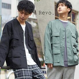 【送料無料】 Revo. レヴォ シャツジャケット メンズ ノーカラージャケット シャツ ミリタリージャケット カーディガン ワーク ツール ポケット ルーズシルエット
