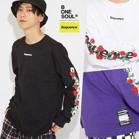 【送料無料】Sequence B ONE SOUL ロンT メンズ レディース Tシャツ 長袖 薔 バラ 刺繍 花柄 クルーネック ゆったり 大きいサイズ プリントTシャツ 長袖Tシャツ カットソー 黒 白 ブランド ストリート系 ストリートファッション 韓国ファッション