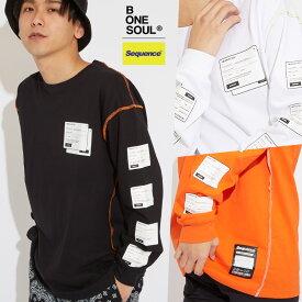 Sequence B ONE SOUL ロンT メンズ レディース Tシャツ 長袖 クルーネック ゆったり 大きいサイズ プリントTシャツ 長袖Tシャツ カットソー 黒 白 ブランド ストリート系 ストリートファッション 韓国ファッション