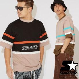 STARTER BLACK LABEL スターターブラックレーベル Tシャツ メンズ レディース 半袖Tシャツ クルーネック スウェットシャツ ビッグシルエット ロゴT ライン柄 ゆったり 大きいサイズ カットソー ブランド アメカジ ストリート系 ストリートファッション
