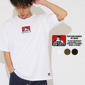 BEN DAVIS ベンデイビス Tシャツ メンズ レディース 半袖Tシャツ ロゴ 半袖 カットソー クルーネック ゆったり 大きいサイズ ベンデービス ブランド スケーター ストリート系 黒 白 ブラック ホワイト カーキ ストリートファッション