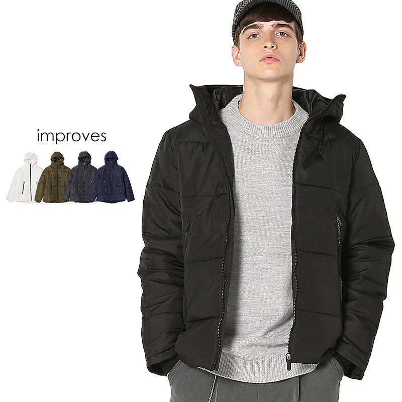 【送料無料】ダウンジャケット メンズ レディース アウター 服 暖かい ダウン ジャケット 中綿 大きいサイズ 軽量 ボリュームネック ブルゾン 防寒着 ジャンパー ジャンバー ブラック カーキ グレー ネイビー ホワイト 黒 白 メンズファッション インプローブス improves