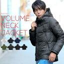 中綿ジャケット 軽量 暖か 暖かい 中綿入り ボリュームネック ハイネック 中綿ダウン ジャケット 黒 白 ショート フード ブルゾン ダウンジャケット メンズ 無地 迷彩 柄 メンズファッション カ
